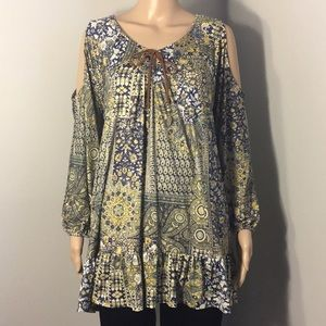 STYLE & CO: COLD-SHOULDER LONG-SLEEVE TOP:Sz XL